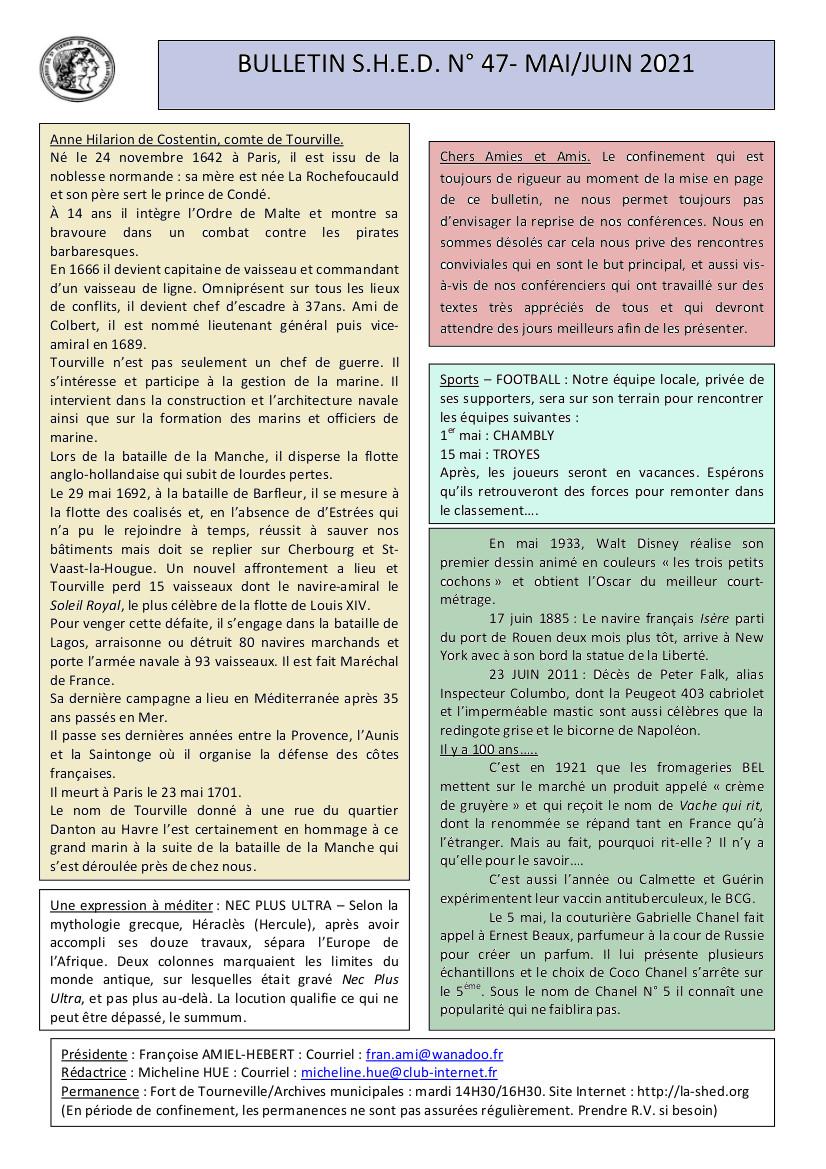 Bulletin SHED N° 47. Mai.juin 2021